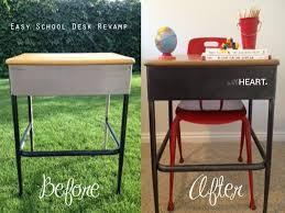 such a neat and simple technique for refinishing metal furniture like this old school desk to