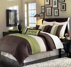 Amazon Com 8 Pieces Beige Green And Brown Luxury Stripe Blue Green And Brown Bedroom Designs