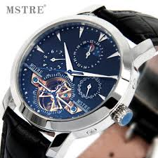 aliexpress com buy genuine gold automatic mechanical men genuine gold automatic mechanical men multifunction watches hollow waterproof wristwatch fashion leather strap blue dial watch