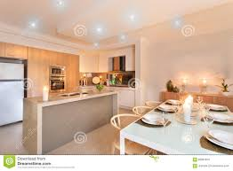 Kitchen Dinner Kitchen And Dinner Table Setup With Candles Flashing Editorial