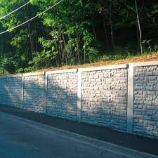 reinforced concrete retaining wall modular prefab road durisol narrow footprint system