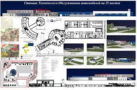 Дипломные и курсовые работы по архитектуре Архитектура и  Дипломная работа Станция технического обслуживания на 25 мест