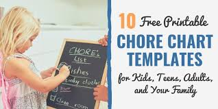 Family Chore Chart List 10 Free Printable Chore Chart Templates For Kids Teens