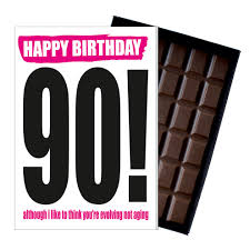funny 90th birthday gift rude present for him or her 85g chocolate card on on