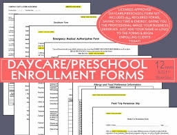 Daycare Form Magnificent Editable ENROLLMENT FORMS Daycare Preschool Child Care