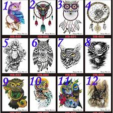 1pcs Waterproof Body Art Tattoo Sticker Decal Feather Owl Body Tattools Women Fashion Body Jewelry Accessories