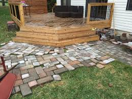 paver patio with deck. Simple Deck Need Help Deciding How To Lay Pavers Off Angled Deck Steps For Paver Patio With Deck E