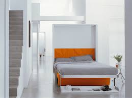 Splendid Orange Wooden Painted Pull Down Bed Frame Feat White Wall Accent  Color As Well As Stright Stair In Apartment Interior Ideas