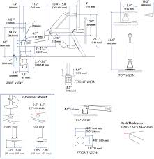 technical drawing for ergotron 45 384 026 lx hd sit stand desk mount
