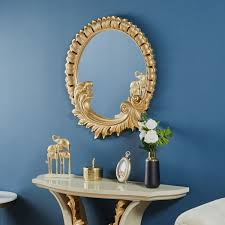 royal console with mirror white gold