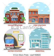 police station building clipart.  Police Fire Station And Hospital Building Metro Police  Csp41958623 On Police Station Building Clipart E