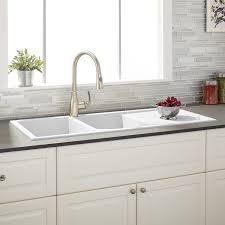 Glacier Bay AllinOne DropIn Stainless Steel 25 In 4Hole White Single Bowl Drop In Kitchen Sink