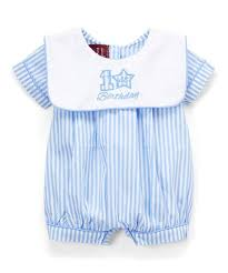 Lil Cactus Blue Stripe Sailor Collar Embroidered First Birthday Romper Infant