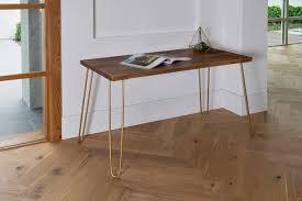 gold hairpin legs modern desk modern rustic desk hairpin legs dark office desk midcentury walnut