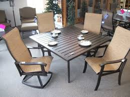 chocolate wrought iron woodard patio furniture sets with square table