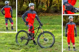 the fox head downpour pro jacket and downpour short shown with giro s mips chronicle