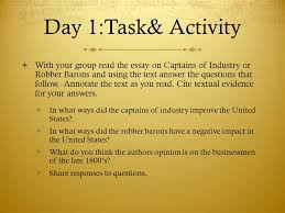 learning target i can analyze various primary and secondary  day 1 task activity  your group the essay on captains of industry