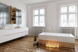 Gruppe Kerzen Auf Den Holzboden Neben Der Badewanne In Einem