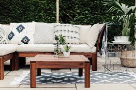 geometric cushions on ikea applaro outdoor sofa