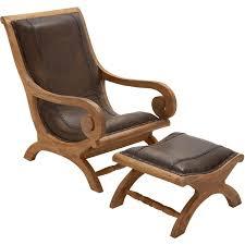 farmhouse wood leather chair ottoman set of 2 13 x 36 h