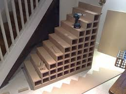 Decorations:Adorable Wine Rack Under Stairs With Open Shelves And White  Wooden Railing Adorable Wine