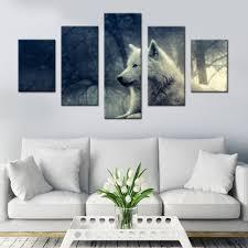 Wolf Gaze Canvas Set Muur Decor Woonkamer Foto Dier Schilderen