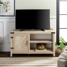 white oak rustic farmhouse barn door tv stand storage console with shelving