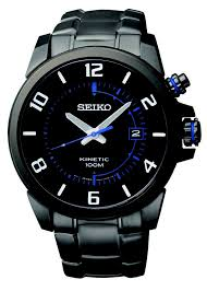 17 best images about kinetic 6 months leather and seiko kinetic environmentally friendly watch black ion finish and blue accents ska555
