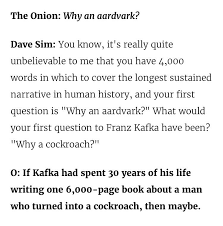 From An Interview The Onion Did With Dave Sims In 2004 The Whole
