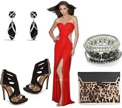 long red prom dress with black-leopard accessories