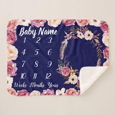 baby girl gift customized with baby's name <b>Baby Milestone Blanket</b> ...