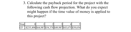 How To Do A Cash Flow Projection Solved 3 Calculate The Payback Period For The Project Wi