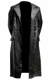 men s classic officer military black leather long german trench coat 69 99