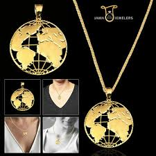10k yellow gold diamond cut world globe