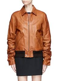 saint lau women saint lau ruched sleeve oversized vintage leather jacket find saint