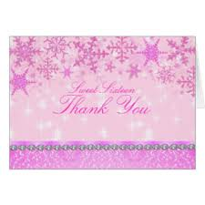 snowflake thank you cards pink snowflake thank you gifts on zazzle nz