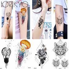 Ioridyo акварельный лев временная татуировка женское грудь перо