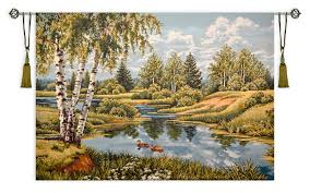 landscape with ducks large tapestry wall hanging scenery with a river in forest h54 x w76