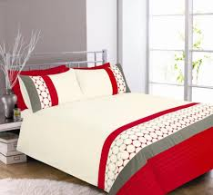 eclipse red cream grey duvet cover bedding set single double king