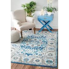 best home romantic nuloom blue rug of nuloom traditional distressed oriental grey area 5 3
