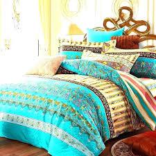 indian print bedding print bedding turquoise green yellow and rust orange bohemian tribal themed retro pattern indian print bedding