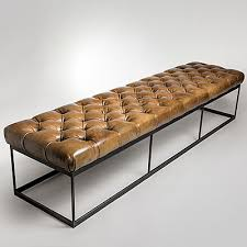 tufted leather bench40