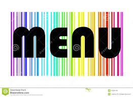 The Word Menu Menu Design In Colorful Rainbow Stock Illustration