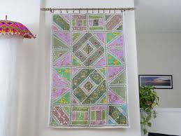extravagant fabric wall hanging indian tapestry jade n ivory embroidery and patchwork decor ethnic artikrti uk