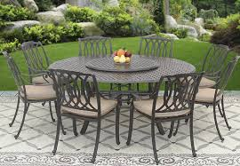 san marcos cast aluminum outdoor patio 9pc dining set 8 dining chairs 71 inch round table 35 lazy susan series 5000 with sunbrella sesame linen cushion