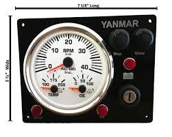 black multi gauge yanmar engine panel white gauges ac dc marine miniyanmarbw