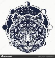 Tetování Tygr Tiger Portrét Na Pozadí Vesmíru Stock Vektor
