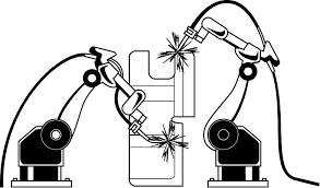 製造業12 溶接ロボット 仕事の無料イラスト素材 イラストポップ