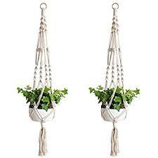 Accmor Macrame Plant Hanger Set of 2, 39 Inch Handmade Cotton Plant Hanger  for Round