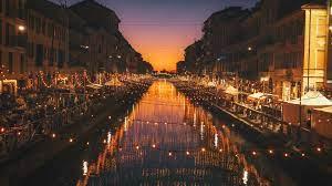 Wallpaper Milan, Italy, night, river ...